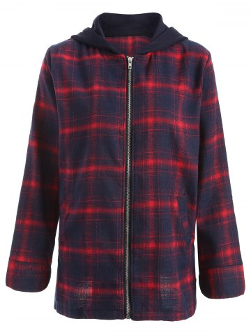 Fashion Zipper Plaid Hooded Coat