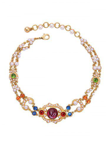 Cheap Vintage Artificial Pearl Gem Beads Necklace