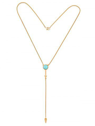 Faux Turquoise Circle Geometric Pendant Necklace - Golden