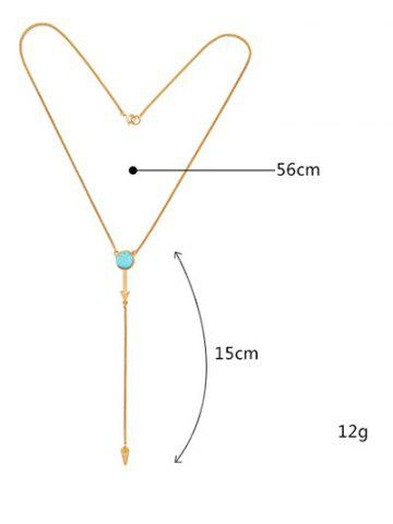 Affordable Faux Turquoise Circle Geometric Pendant Necklace - GOLDEN  Mobile