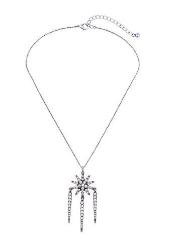 Affordable Vintage Rhinestoned Floral Pendant Necklace