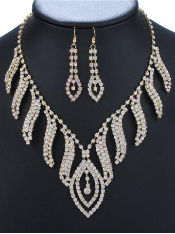 Rhinestoned Leaf Necklace and Earrings - GOLDEN