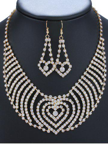 Buy Rhinestoned Heart Necklace and Earrings GOLDEN