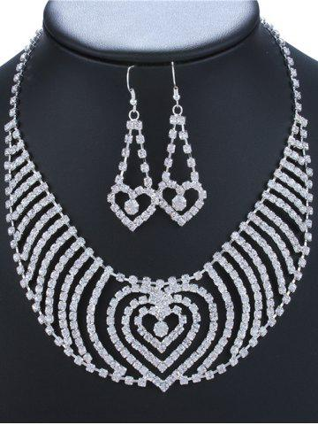 Hot Rhinestone Heart Necklace and Earrings