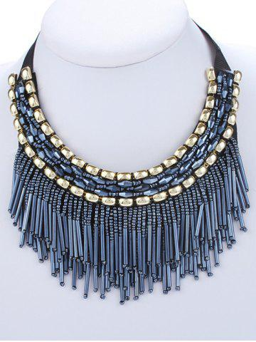 Online Vintage Chunky Rhinestone Beaded Necklace BLUE