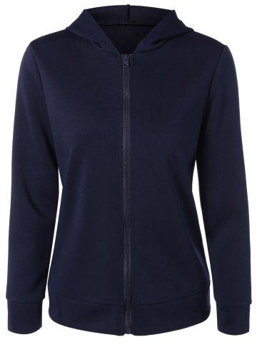 Zip Up Ear Hooded Hoodie - Purplish Blue - M