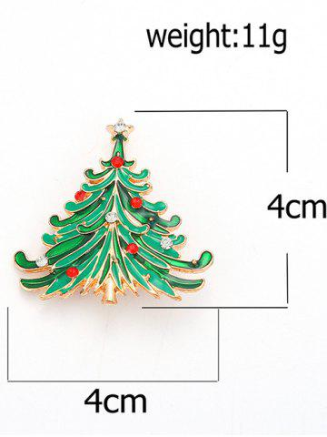 Hot Rhinestone Pentagram Christmas Tree Brooch - GREEN  Mobile