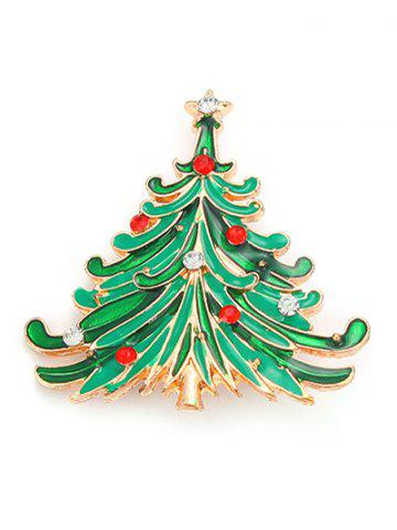 Trendy Rhinestone Pentagram Christmas Tree Brooch - GREEN  Mobile