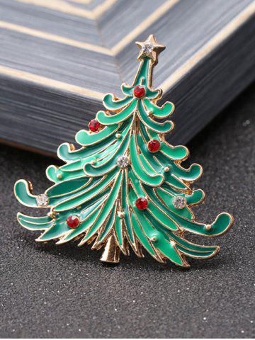 Shop Rhinestone Pentagram Christmas Tree Brooch - GREEN  Mobile