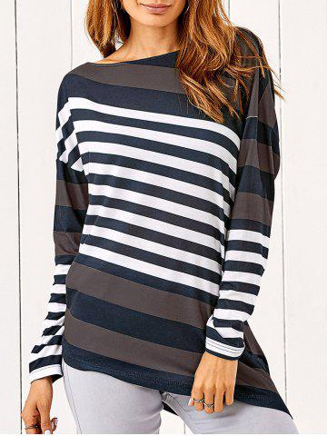 Store Drop Shoulder Vertical Striped T-Shirt