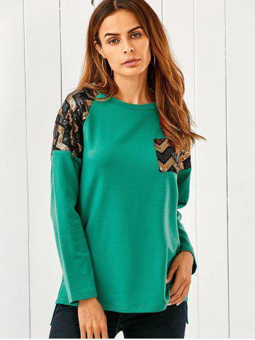 Chic Sequined Zigzag Patchwork High Low T-Shirt
