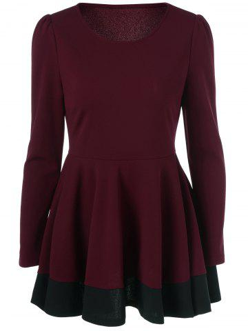 Unique Patchwork Peplum Blouse RED/BLACK M