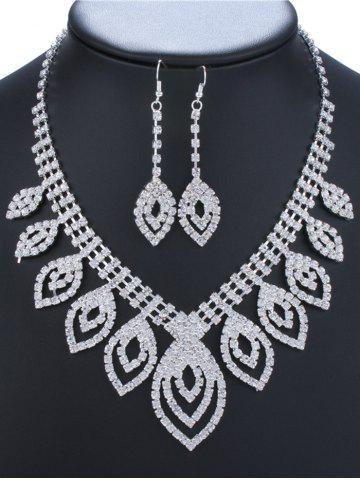 Fashion Rhinestone Hollow Out Leaves Jewelry Set