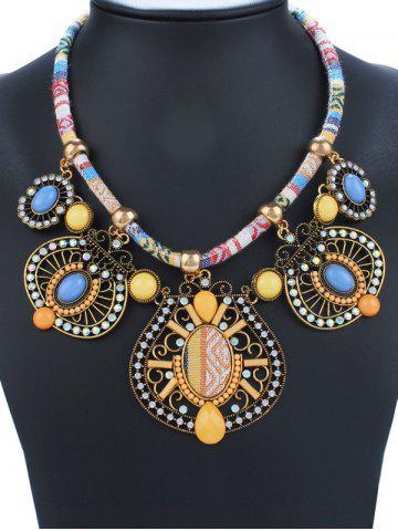 Buy Geometry Rhinestone Enamel Statement Necklace YELLOW