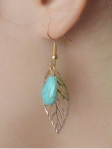 Affordable Leaves Hollow Out Turquoise Drop Earrings GOLDEN