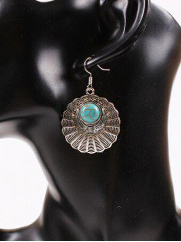 Shops Vintage Round Filigree Turquoise Drop Earrings SILVER