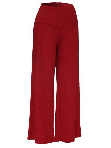 Best Elastic Waistband Palazzo Scrub Pants WINE RED 3XL