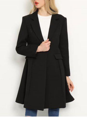 One Button Lapel Skirted Coat