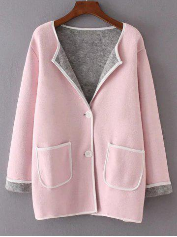 New Twin Pockets Patchwork Sweater Coat
