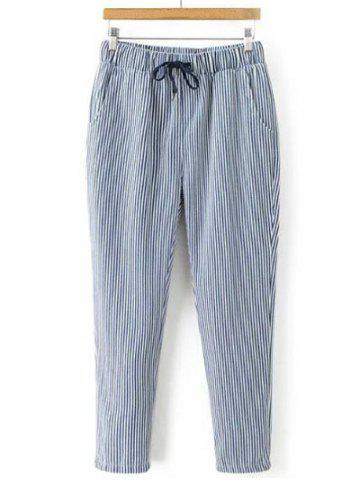Outfit Striped Drawstring Waist Loose Harem Pants STRIPE L
