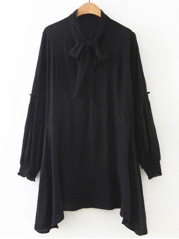 Unique Tied-Up Puff Sleeves Chiffon Mini Dress