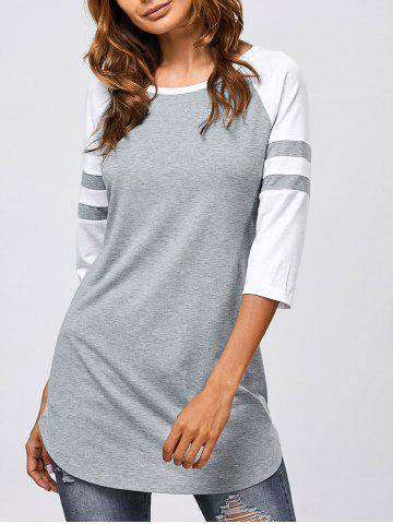 Unique Striped Sleeve Long T-Shirt GREY AND WHITE XL