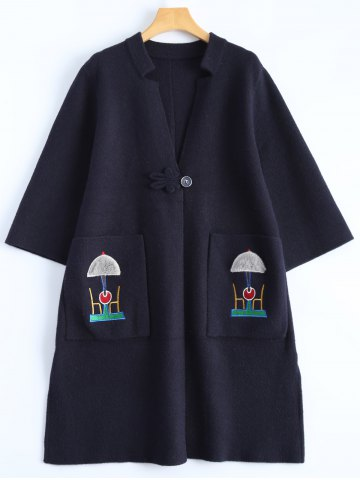 Latest Plus Size Embroidered Coat with Pockets