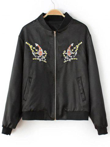 Best Fish Embroidered  Bomber Jacket