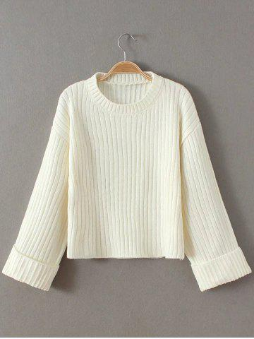 Sale Cropped Woolen Sweater WHITE ONE SIZE