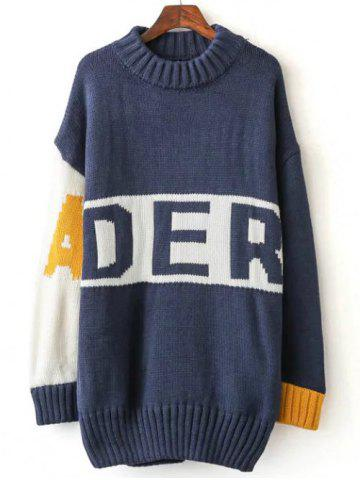Discount Color Block Letter Long Sweater MEDIUM BLUE ONE SIZE