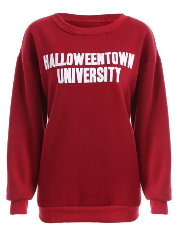 New Pullover Letter Print Thicken Sweatshirt DEEP RED 4XL