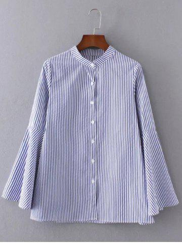 Affordable Buttoned Striped Bell Sleeve Blouse