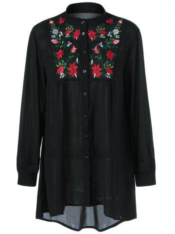 Plus Size Flower Embroidery High Low Blouse