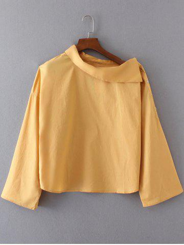 Hot Skew Neck Buttoned Long Sleeves Blouse GOLDEN YELLOW L