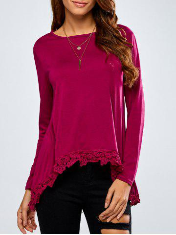High-Low Lace Spliced Loose T-Shirt - Wine Red - S