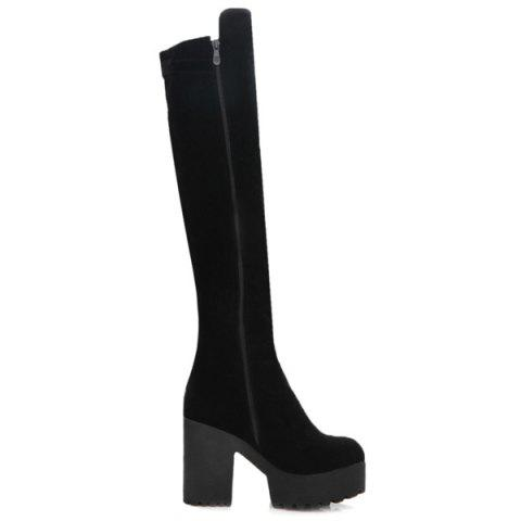 Outfits Chunky Heel Buckle Fringe Knee-High Boots - 37 BLACK Mobile