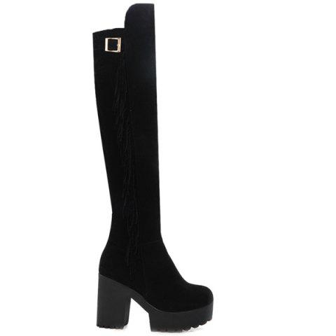 Discount Chunky Heel Buckle Fringe Knee-High Boots - 37 BLACK Mobile