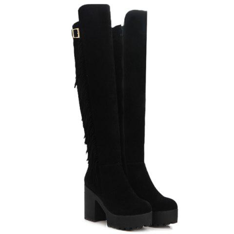 Trendy Chunky Heel Buckle Fringe Knee-High Boots - 37 BLACK Mobile