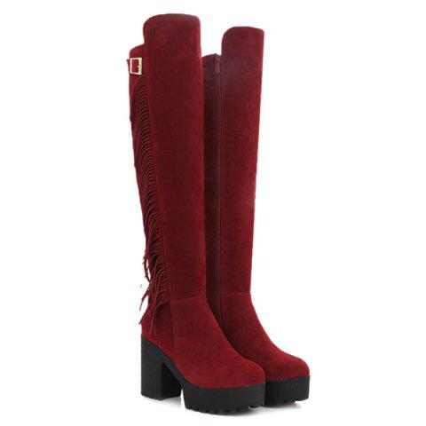 Online Chunky Heel Buckle Fringe Knee-High Boots - 37 RED Mobile