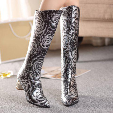 Outfit Pointed Toe Floral Print Chunky Heel Boots - 38 BLACK Mobile