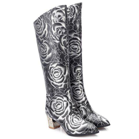 Chic Pointed Toe Floral Print Chunky Heel Boots - 38 BLACK Mobile
