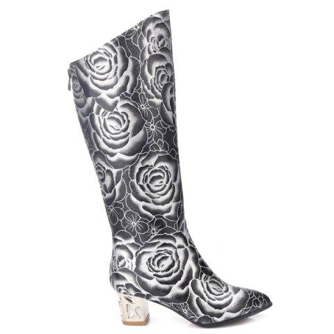 Discount Pointed Toe Floral Print Chunky Heel Boots - 38 BLACK Mobile