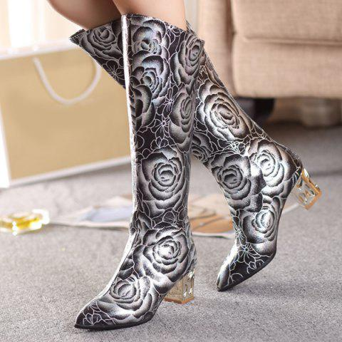 Cheap Pointed Toe Floral Print Chunky Heel Boots - 38 BLACK Mobile