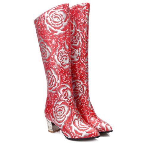 New Pointed Toe Floral Print Chunky Heel Boots - 38 RED Mobile