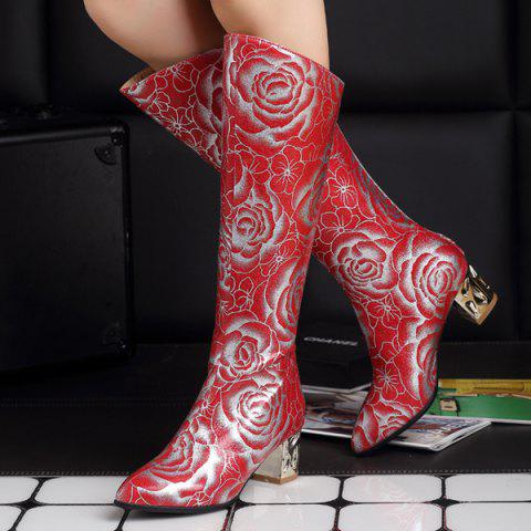 Discount Pointed Toe Floral Print Chunky Heel Boots - 38 RED Mobile