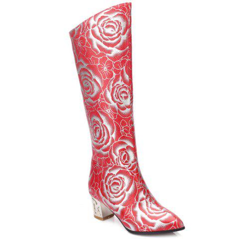 Chic Pointed Toe Floral Print Chunky Heel Boots - 38 RED Mobile