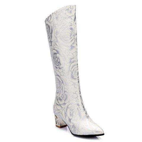 Discount Pointed Toe Floral Print Chunky Heel Boots - 39 WHITE Mobile