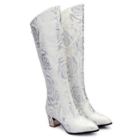 Fashion Pointed Toe Floral Print Chunky Heel Boots - 37 WHITE Mobile