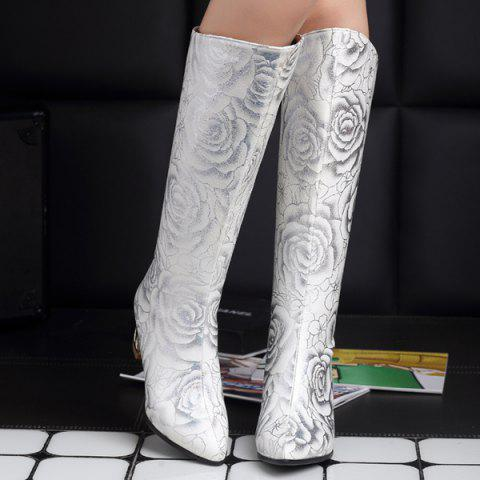 New Pointed Toe Floral Print Chunky Heel Boots - 37 WHITE Mobile