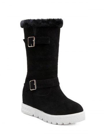 Affordable Double Buckles Hidden Wedge Snow Boots